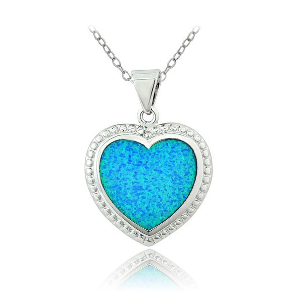 Glitzy Rocks Silvertone Created Blue Opal Heart Necklace