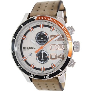 Diesel Men's DZ4310 'Double Down' Brown Leather Strap Watch