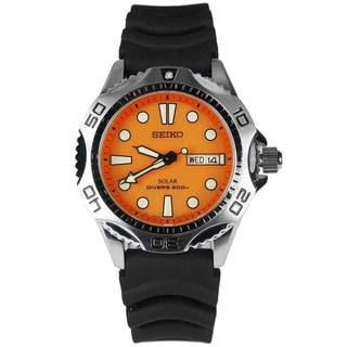 Seiko Men's SNE109P1 Solar Divers Black Rubber Watch