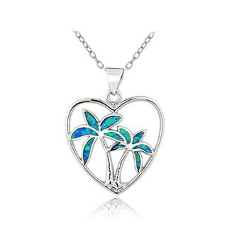 Glitzy Rocks Silvertone Created Blue Opal Palm Tree Heart Necklace