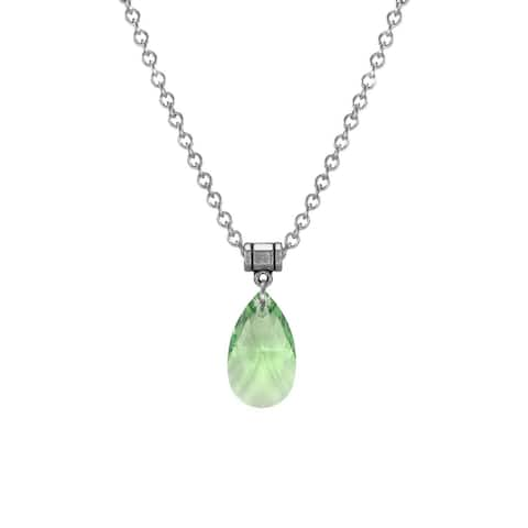 Handmade Jewelry by Dawn Large Peridot Green Crystal Pear Stainless Steel Chain Necklace (USA)