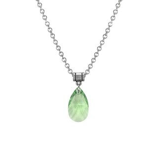 Jewelry by Dawn Large Peridot Green Crystal Pear Stainless Steel Chain Necklace