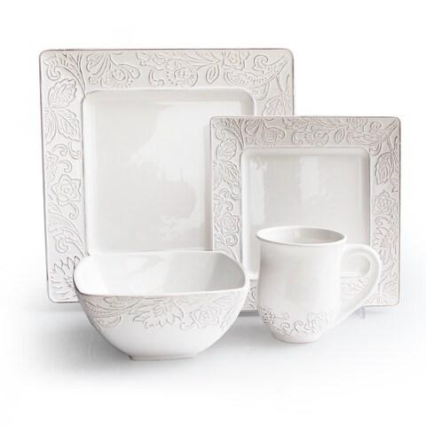 Waverly Belinda White 16-piece Dinnerware Set