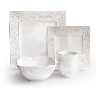 Waverly Belinda White 16-piece Dinnerware Set  sc 1 st  Overstock.com & Earthenware Dinnerware For Less | Overstock