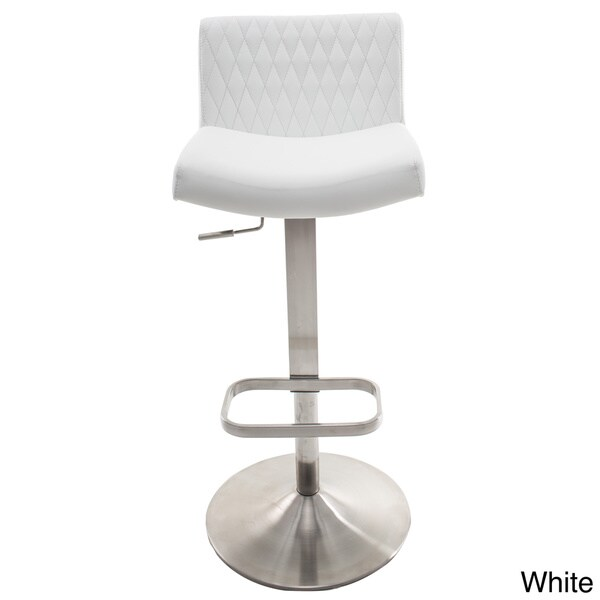 diamond patterned back brushed stainless steel adjustable height swivel bar stool with round base