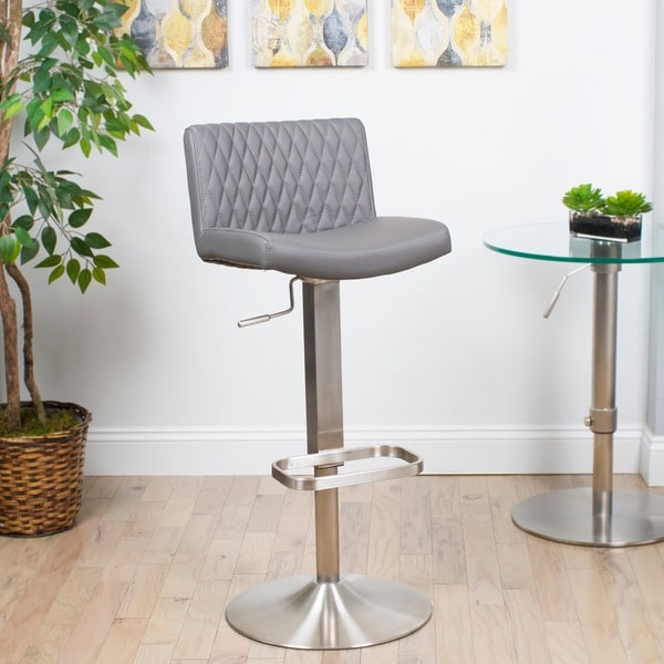 MIX Diamond Patterned Leatherette/Brushed Stainless Steel Adjustable Height  Swivel Bar Stool With