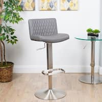 MIX Diamond-patterned Leatherette/Brushed Stainless Steel Adjustable-height Swivel Bar Stool with Round Base