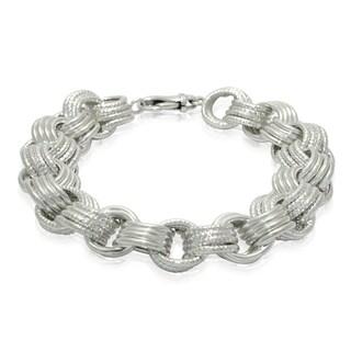 Gioelli Sterling Silver Quadruplet Rolo Linked Bracelet