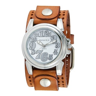 Nemesis Women's Brown Perforated Leather Cuff Band Watch