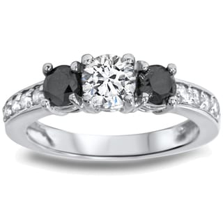 14k White Gold 1ct TDW Black/ White Diamond 3-stone Ring