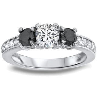 14k White Gold 1ct TDW Black/ White Diamond 3-stone Ring (I-J, I2-I3)