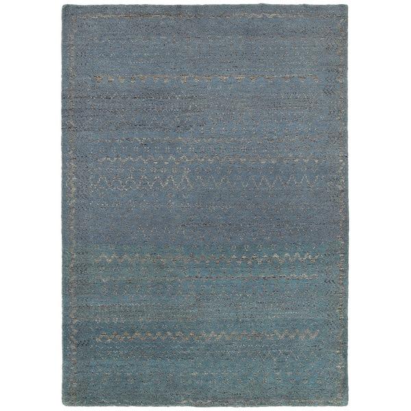 LR Home Oushak Distressed Geometric Blue Rug ( 10' x 14' ) - 10' x 14'/Surplus
