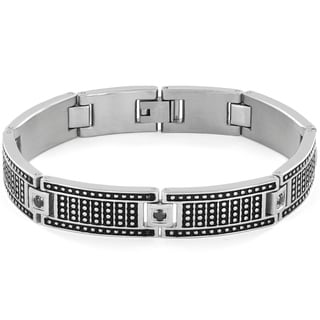 Crucible Men's Black Cubic Zirconia Studded Stainless Steel Bracelet