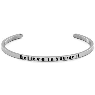Stainless Steel 'Believe in Yourself' Cuff Bracelet