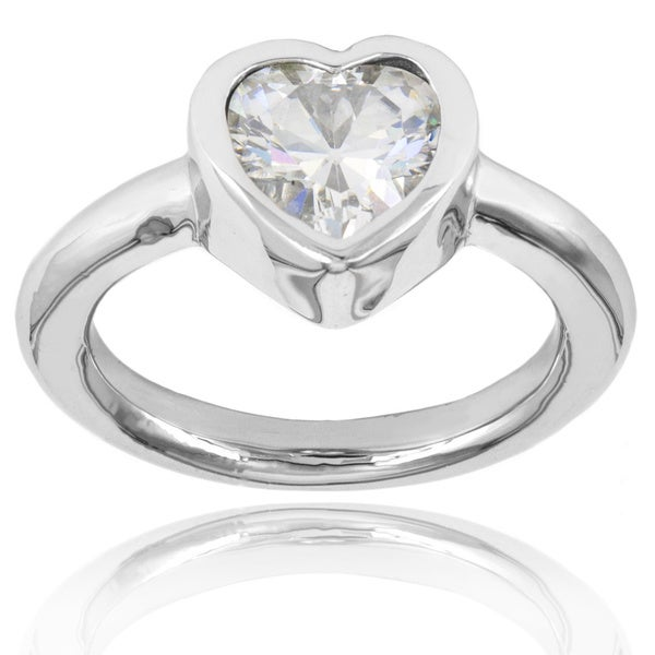 ELYA Stainless Steel Heart-cut Inlaid Cubic Zirconia Ring - Silver
