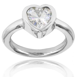 ELYA Stainless Steel Heart-cut Inlaid Cubic Zirconia Ring - Silver (4 options available)