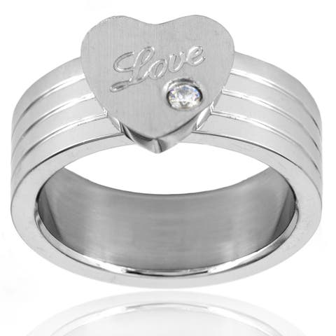 Cubic Zirconia Heart Grooved Dual Finish Stainless Steel Ring - 10mm Wide - Silver