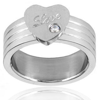 Cubic Zirconia Heart Grooved Dual Finish Stainless Steel Ring - 10mm Wide