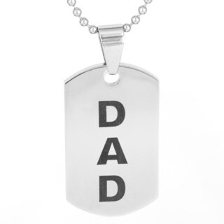 Stainless Steel Men's 'Dad' Dog Tag Pendant Necklace