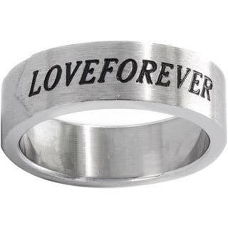 Brushed Stainless Steel 'Love Forever' Ring|https://ak1.ostkcdn.com/images/products/9215548/P16385058.jpg?impolicy=medium