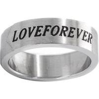 Brushed Stainless Steel 'Love Forever' Ring