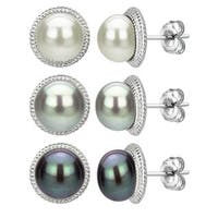 DaVonna Sterling Silver White Black and Grey Pearl Earring Set (9-10 mm)