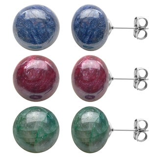 DaVonna Sterling Silver Ruby Emerald and Sapphire Earring Set (10 mm)