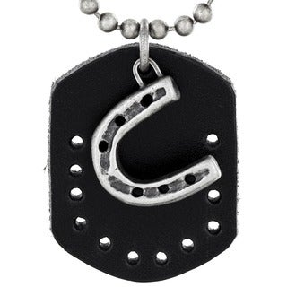Crucible Antiqued Horse Shoe and Leather Dog Tag Pendant Necklace