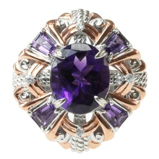 Michael Valitutti Two-tone Amethyst and White Sapphire Ring