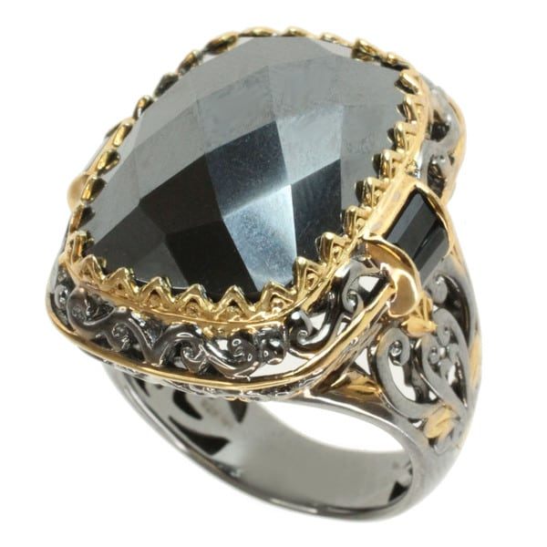 Michael Valitutti Two-tone Hematite and Black Spinel Ring