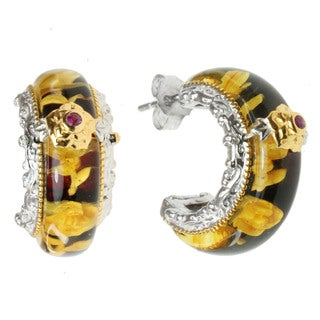 Michael Valitutti Two-tone Carved Amber and Pink Sapphire Earrings