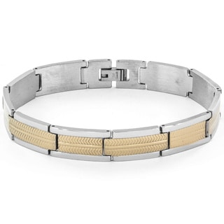 Stainless Steel Men's Chevron Two-tone Link Bracelet