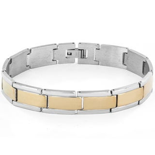 Stainless Steel Men's Two-tone Polish Link Bracelet