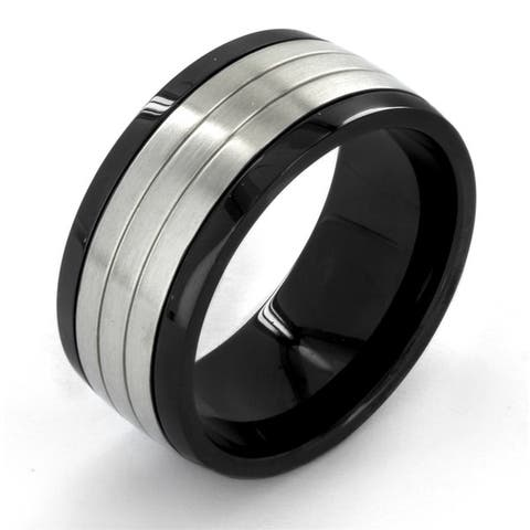 Crucible Two Tone Stainless Steel Grooved Comfort Fit Ring (10mm) - Black