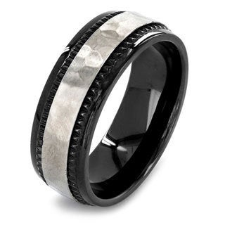Crucible Black Plated Dual Finish Titanium Hammered Comfort Fit Ring - 8mm Wide