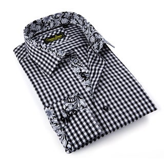 Banana Lemon Men's Black Gingham Patterned Button-down Shirt
