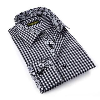 Banana Lemon Men's Black Gingham Patterned Button-down Shirt