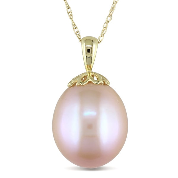 Miadora 10k Yellow Gold Pink Cultured Freshwater Pearl Drop Necklace (11.5-12 mm)