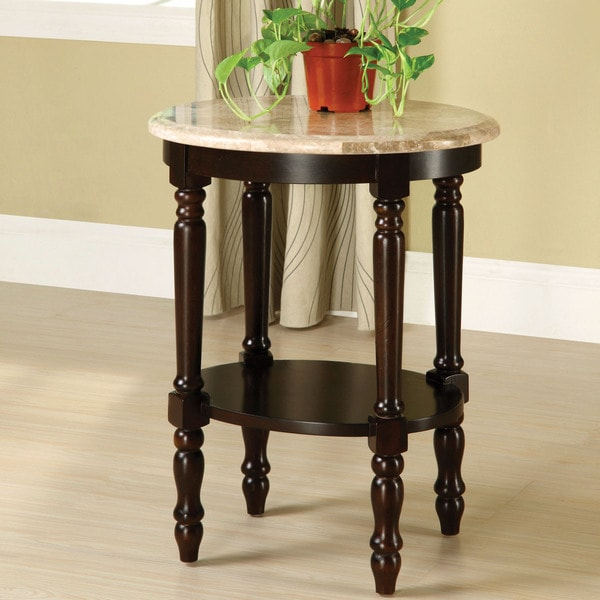 """Furniture of America Arboreta Classic Marble Oval Top Side Table - 16.5""""W X 20.5""""D X 26""""H"""