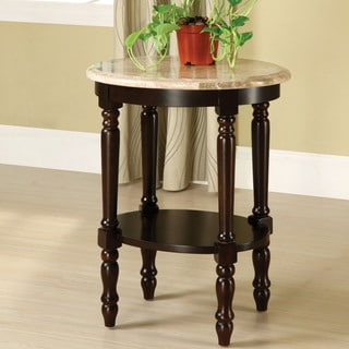 Furniture of America Arboreta Classic Marble Oval Top Side Table