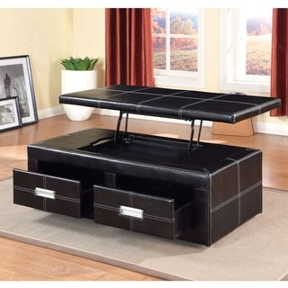 Furniture of America Bennie Leatherette Lift-Top Storage Ottoman