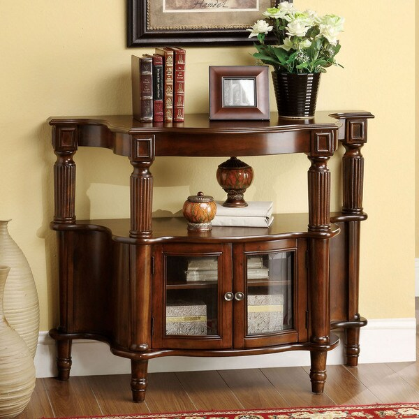 Furniture of America Georgia Classic Antique Walnut Entryway Table - Furniture Of America Georgia Classic Antique Walnut Entryway Table