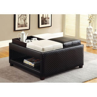 Furniture of America Manders Leatherette Storage Ottoman with Trays