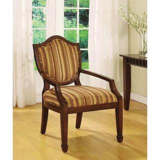 Furniture of America Mude Transitional Walnut Fabric Padded Armchair