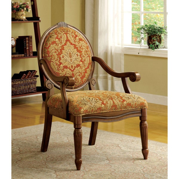 Beau Furniture Of America Letitia Victorian Style Antique Oak Accent Chair