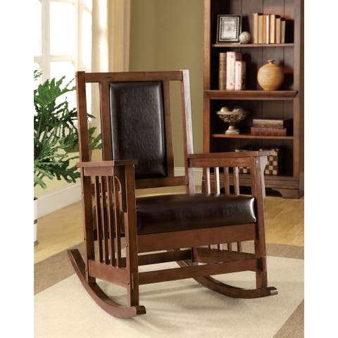 Furniture of America Kier Mission Espresso Faux Leather Rocking Chair