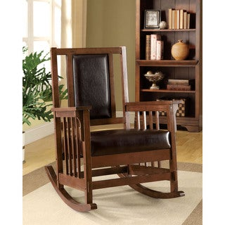 Link to Furniture of America Kier Mission Espresso Faux Leather Rocking Chair Similar Items in Living Room Chairs