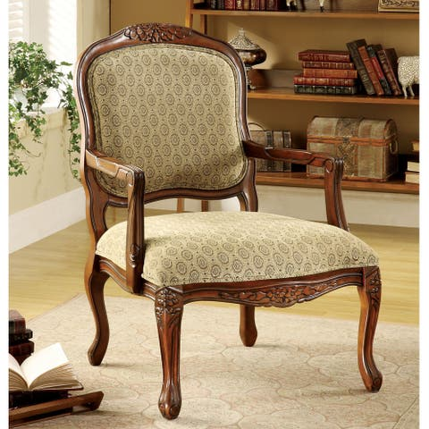 Furniture of America Pees Traditional Beige Fabric Padded Accent Chair