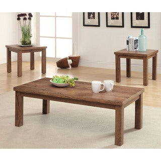 Furniture of America Earley 3-Piece Weathered Elm Accent Table Set - Oak