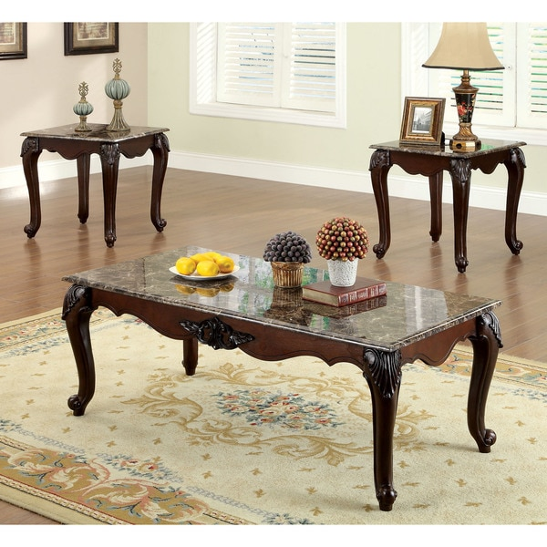 Cherry Marble Top Coffee Tables: Shop Furniture Of America Callington Traditional 3-Piece